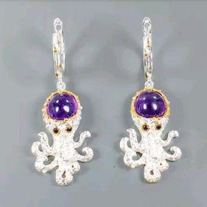 Adorable Octopus amethyst sterling earrings